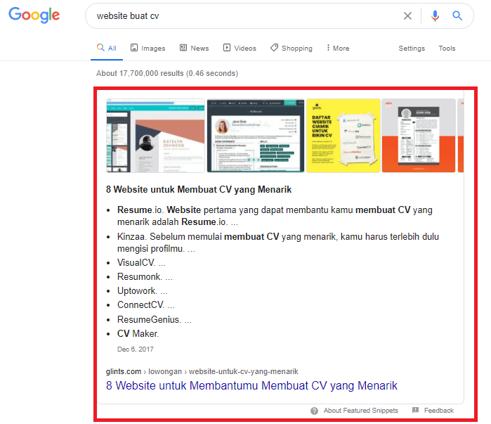 Contoh fitur SERP - Featured snippets