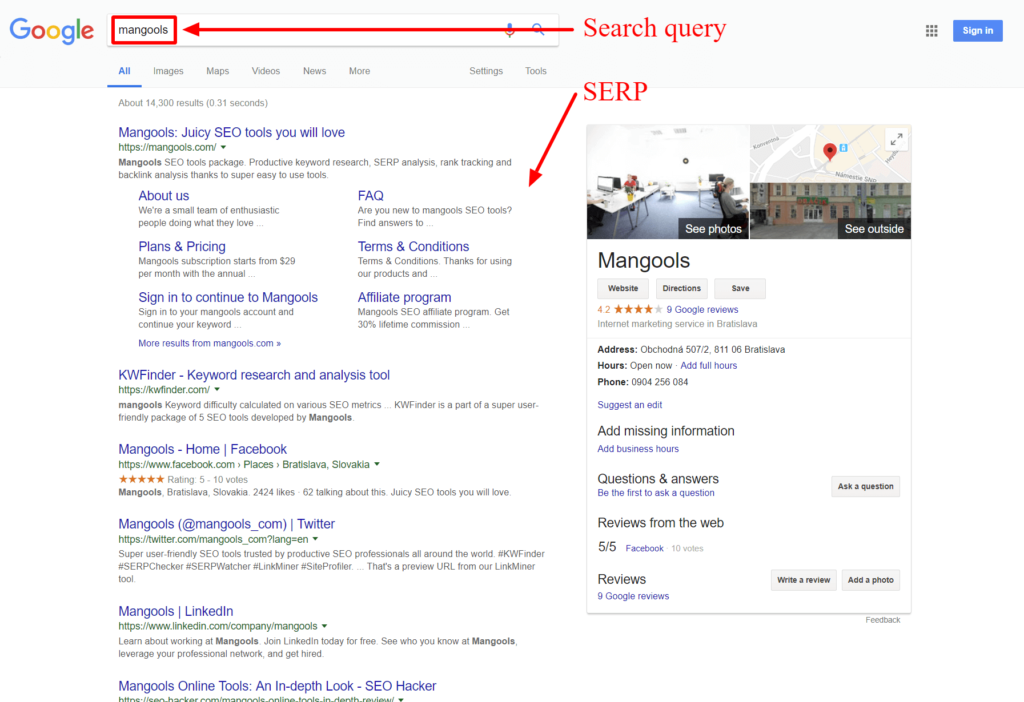 Contoh SERP results