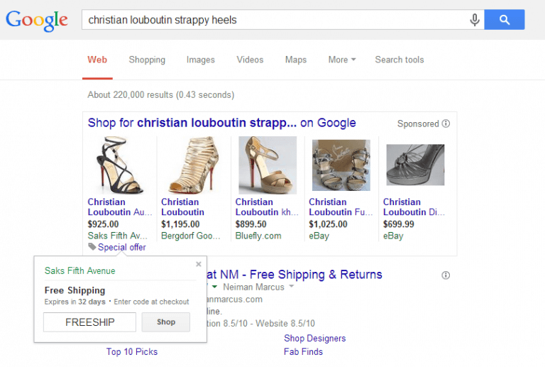 Contoh fitur SERP - Shopping Results